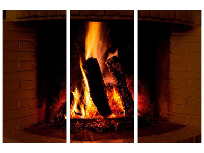 Hartschaumbild 3-teilig Feuer im Kamin