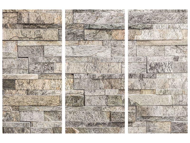 Hartschaumbild 3-teilig Elegante Steinmauer