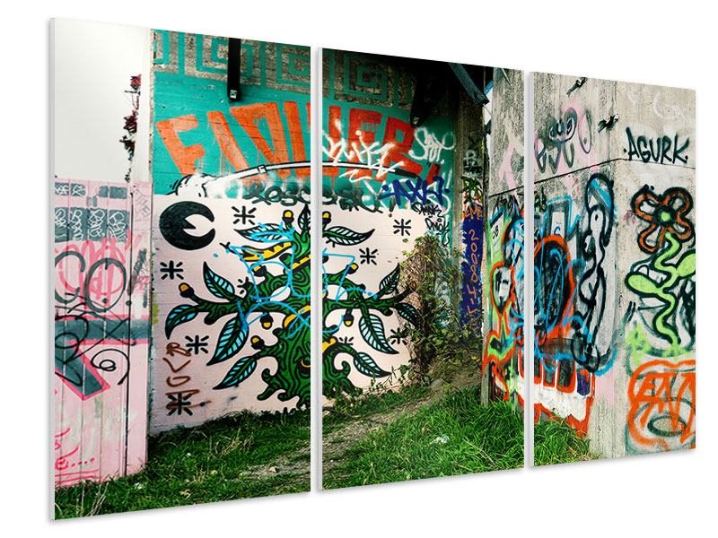 Hartschaumbild 3-teilig Graffiti im Hinterhof