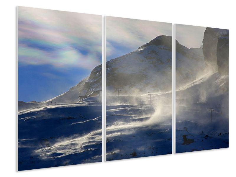 Hartschaumbild 3-teilig Mit Schneeverwehungen den Berg in Szene gesetzt