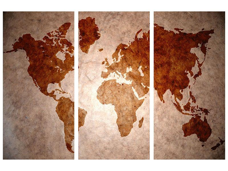 Hartschaumbild 3-teilig Vintage-Weltkarte