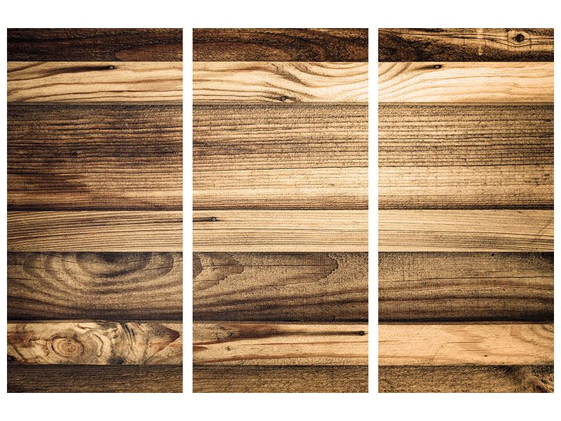 Hartschaumbild 3-teilig Holztrend