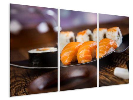Hartschaumbild 3-teilig Sushi-Gericht