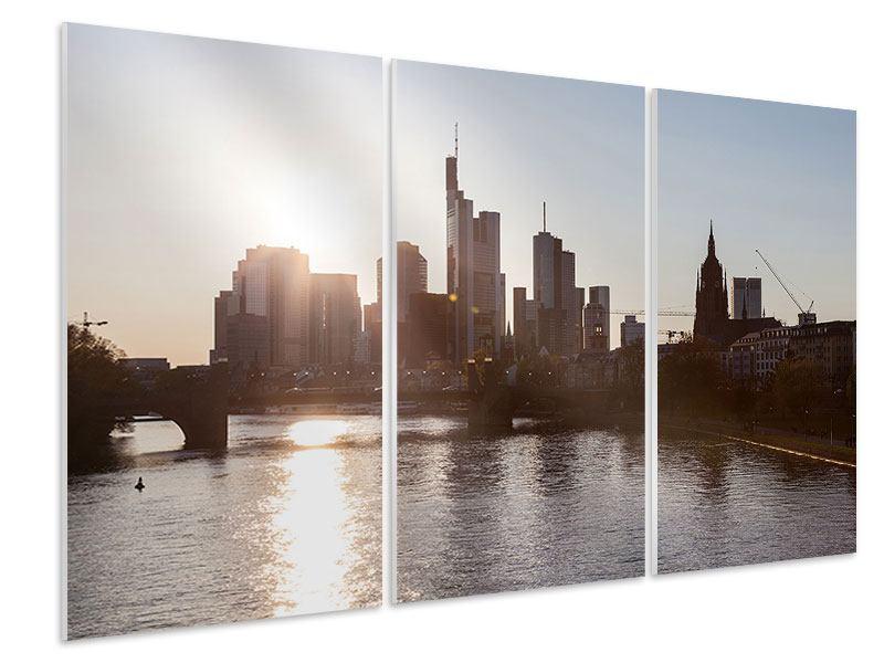Hartschaumbild 3-teilig Skyline Sonnenaufgang bei Frankfurt am Main