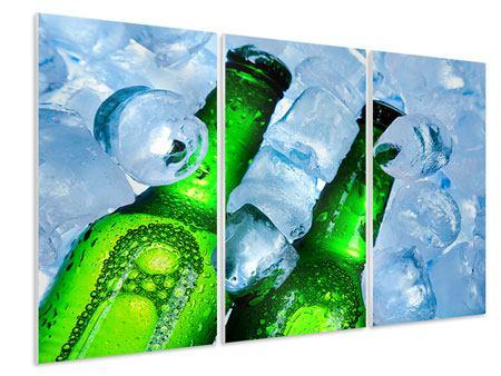Hartschaumbild 3-teilig Eisflaschen