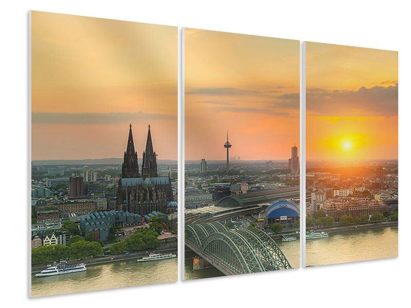 Hartschaumbild 3-teilig Skyline Köln bei Sonnenuntergang