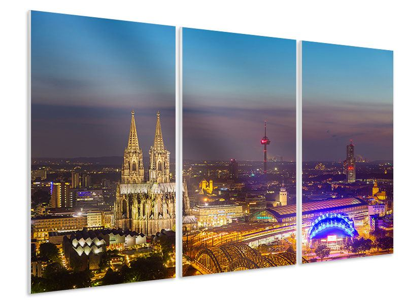 Hartschaumbild 3-teilig Skyline Kölner Dom bei Nacht