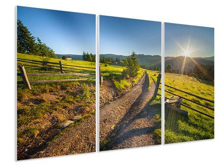 Hartschaumbild 3-teilig Sonnenaufgang am Berg