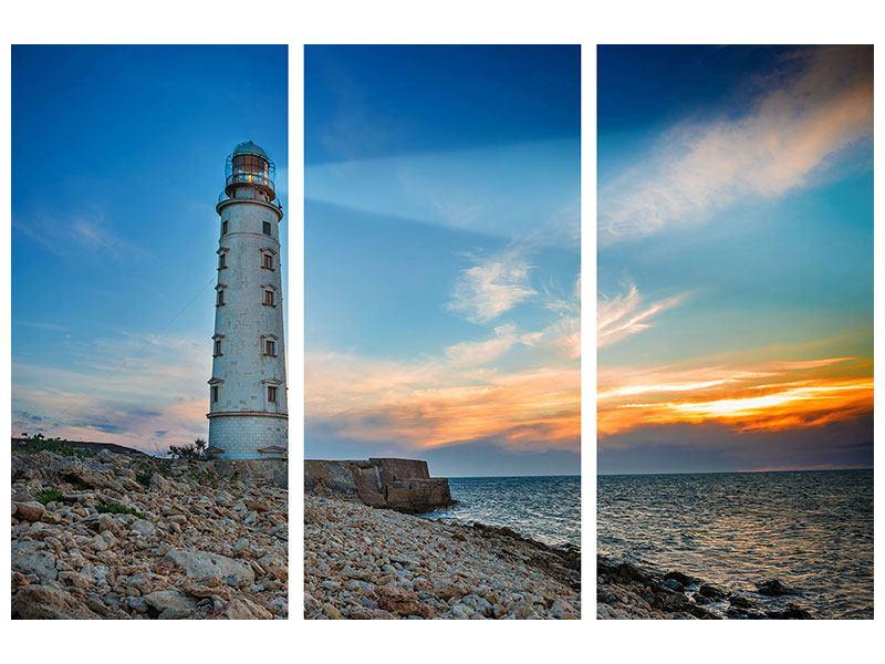 Hartschaumbild 3-teilig Sonnenuntergang am Leuchtturm