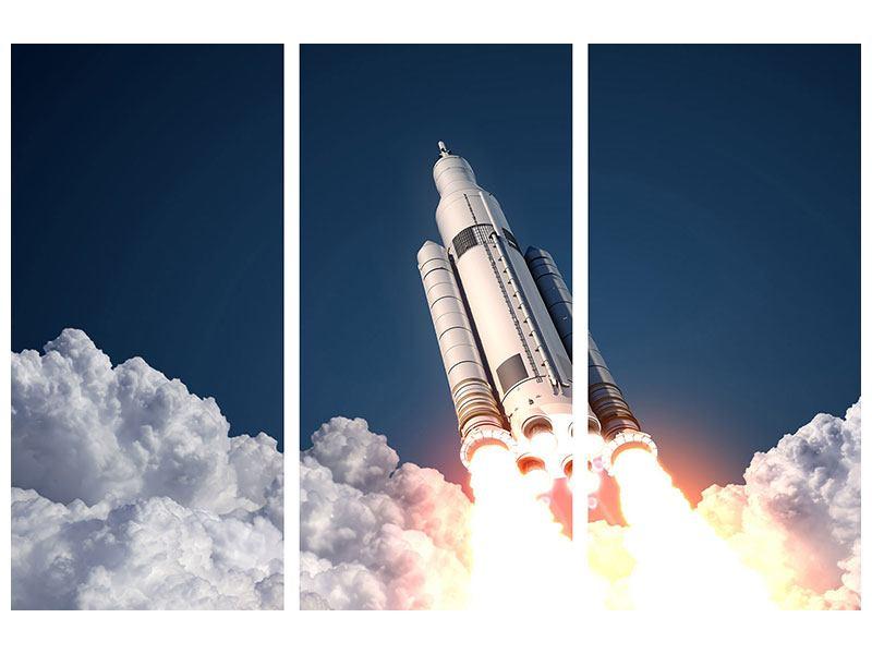 Hartschaumbild 3-teilig Raketenstart