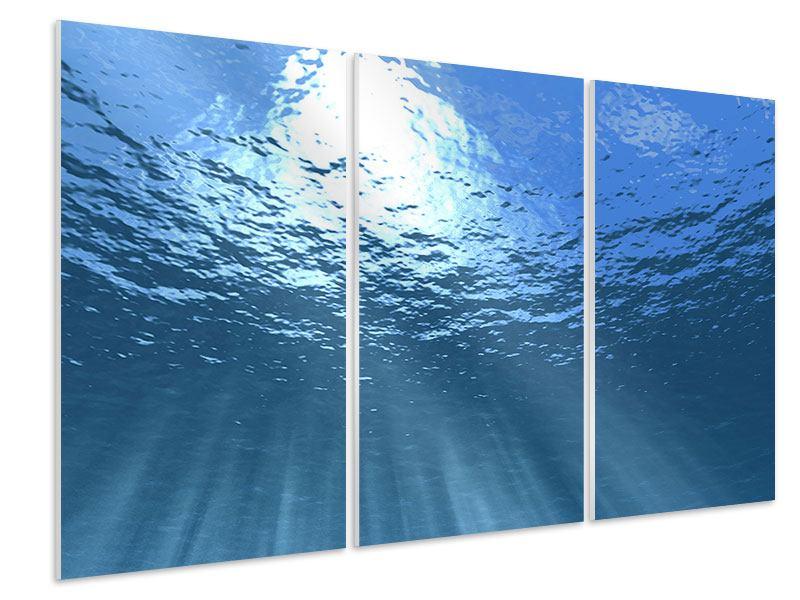 Hartschaumbild 3-teilig Sonnenstrahlen unter Wasser