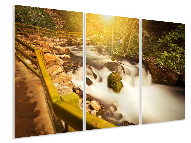 Hartschaumbild 3-teilig Sonnenuntergang am Wasserfall