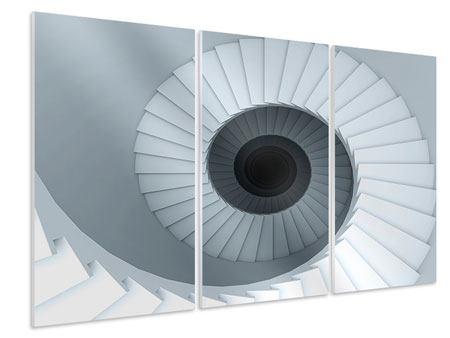 Hartschaumbild 3-teilig 3D Wendeltreppe