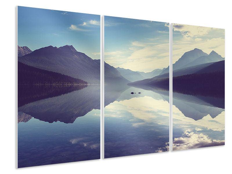 Hartschaumbild 3-teilig Bergspiegelung