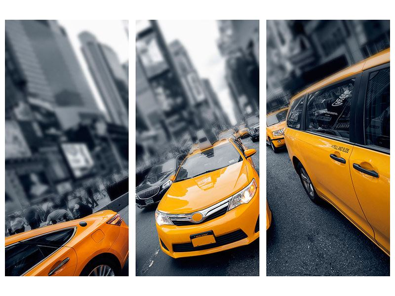 Hartschaumbild 3-teilig Taxi in NYC
