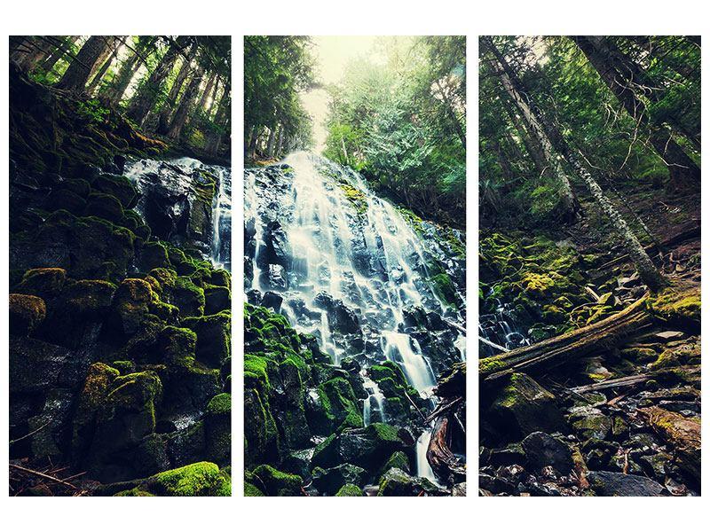 Hartschaumbild 3-teilig Feng Shui & Wasserfall