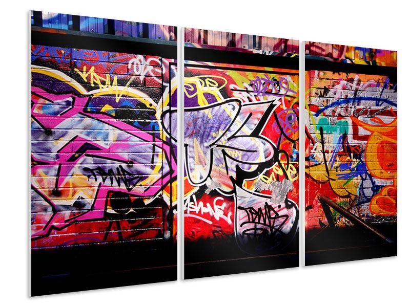 Hartschaumbild 3-teilig Graffiti Kunst
