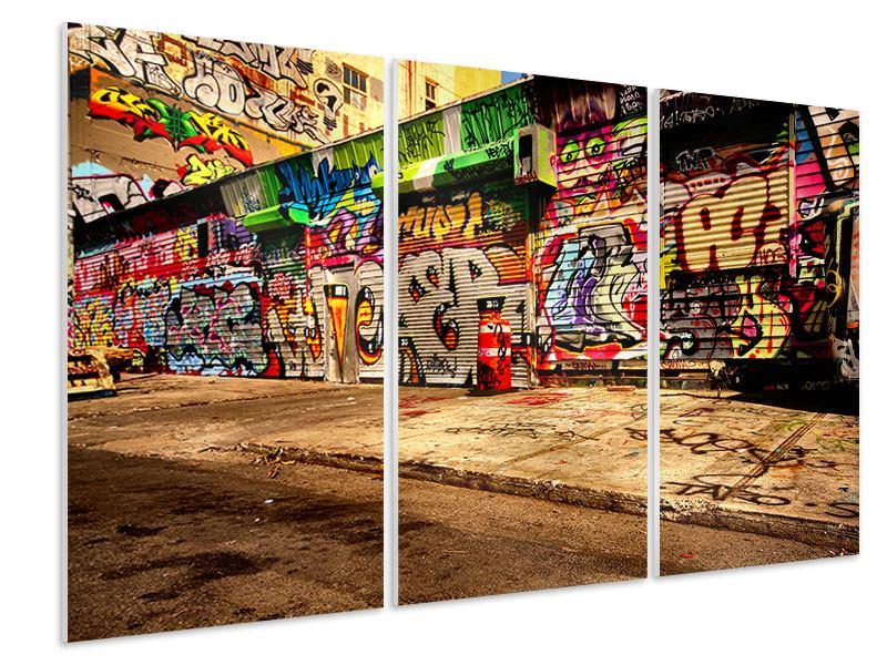 Hartschaumbild 3-teilig NY Graffiti