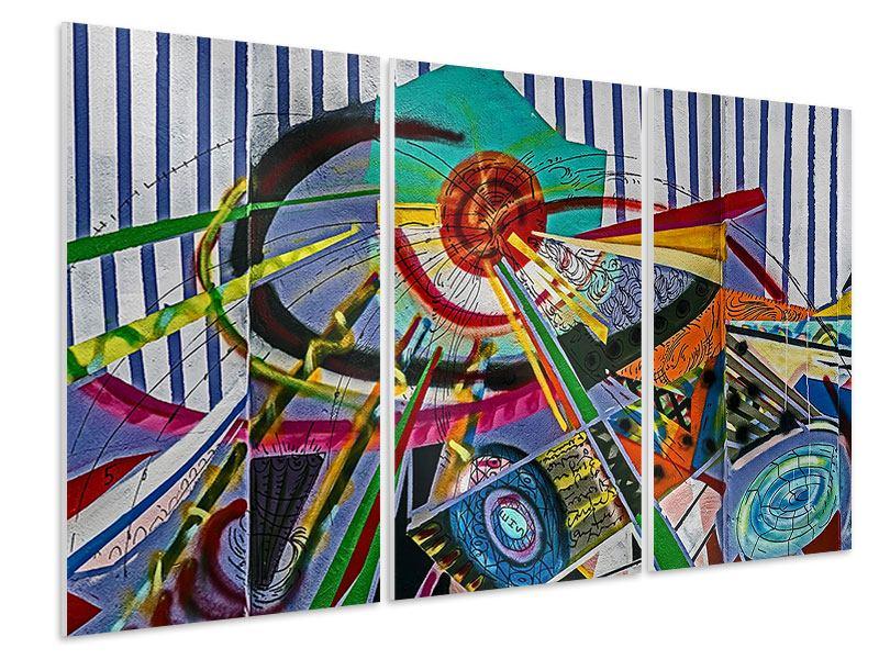 Hartschaumbild 3-teilig Künstlerisches Graffiti