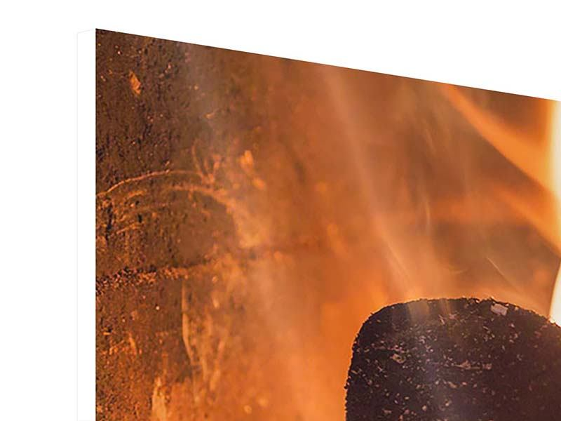 Hartschaumbild 3-teilig Kaminfeuer