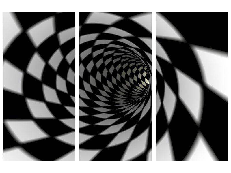 Hartschaumbild 3-teilig Abstrakter Tunnel Black & White