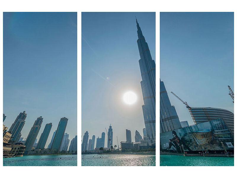 Hartschaumbild 3-teilig Wolkenkratzer-Architektur Dubai