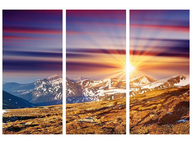 Hartschaumbild 3-teilig Majestätischer Sonnuntergang am Berggipfel