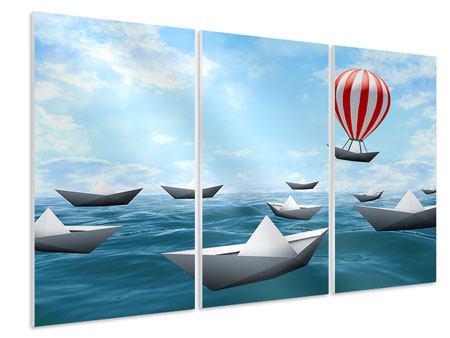 Hartschaumbild 3-teilig Schiffchen