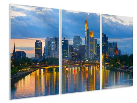 Hartschaumbild 3-teilig Skyline Frankfurt am Main