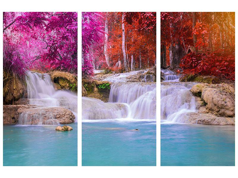 Hartschaumbild 3-teilig Paradiesischer Wasserfall
