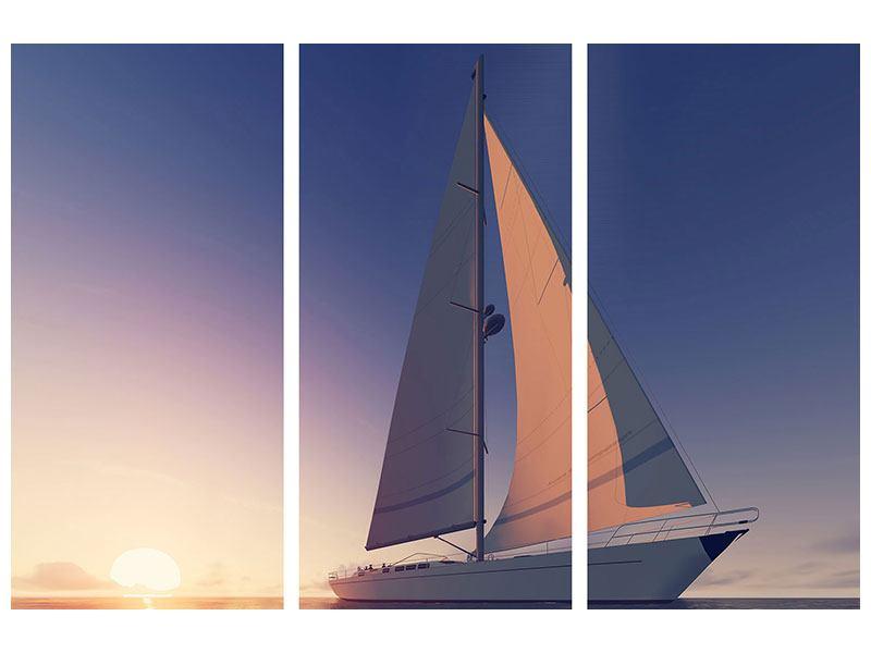 Hartschaumbild 3-teilig Das Segelschiff