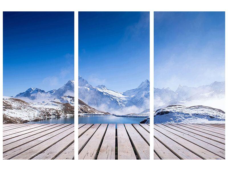 Hartschaumbild 3-teilig Sonnenterrasse am Schweizer Bergsee