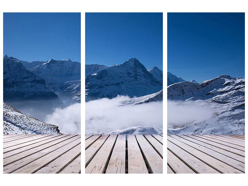 Hartschaumbild 3-teilig Sonnenterrasse in den Schweizer Alpen