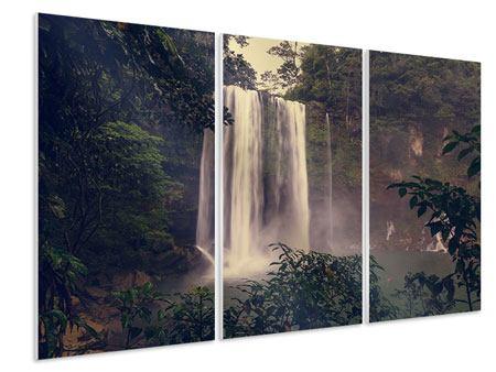 Hartschaumbild 3-teilig Wasserfall in Mexiko