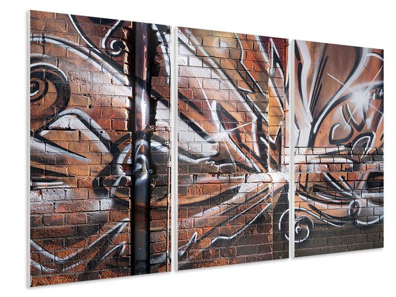 Hartschaumbild 3-teilig Graffiti Mauer