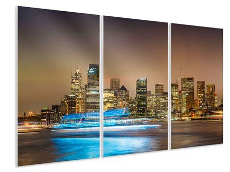 Hartschaumbild 3-teilig Skyline Sydney im Lichtermeer
