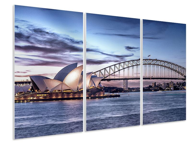 Hartschaumbild 3-teilig Skyline Sydney Opera House