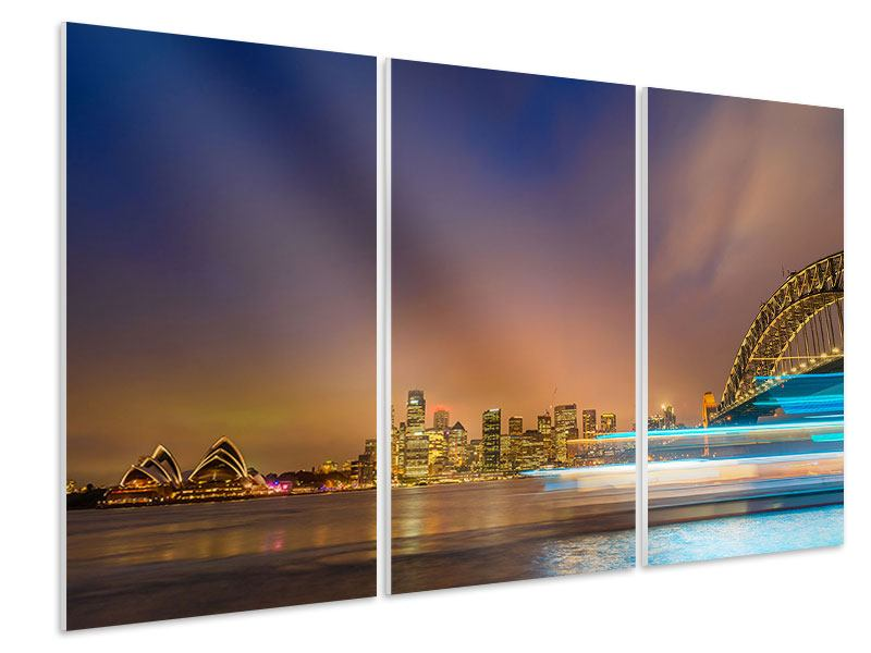 Hartschaumbild 3-teilig Skyline Opera House in Sydney im Abendlicht