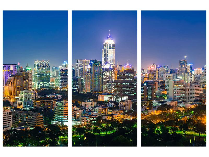 Hartschaumbild 3-teilig Skyline One Night in Bangkok
