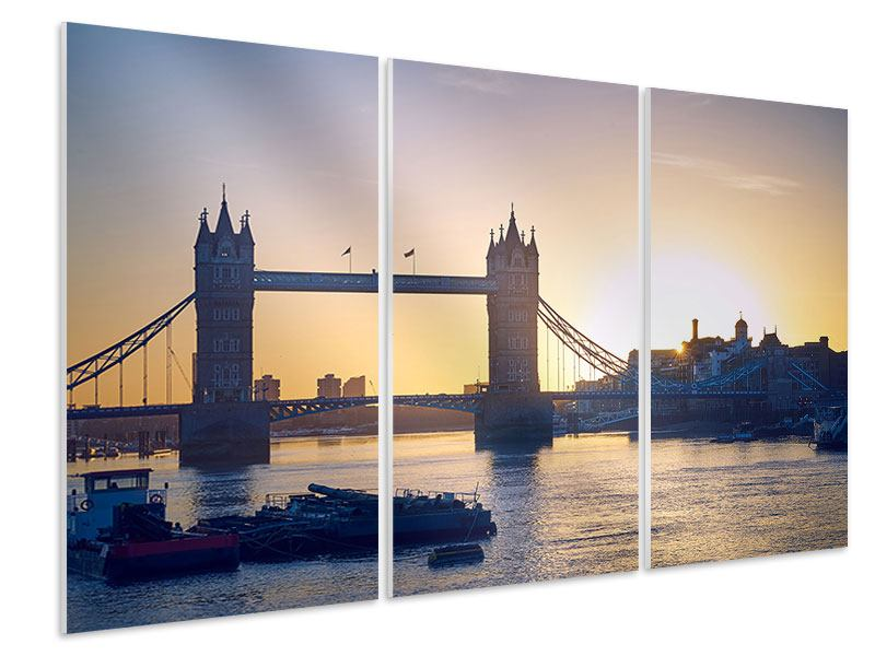 Hartschaumbild 3-teilig Tower Bridge bei Sonnenuntergang