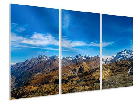 Hartschaumbild 3-teilig Schweizer Alpen im Frühling