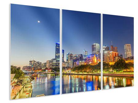 Hartschaumbild 3-teilig Skyline Sydney in der Abenddämmerung