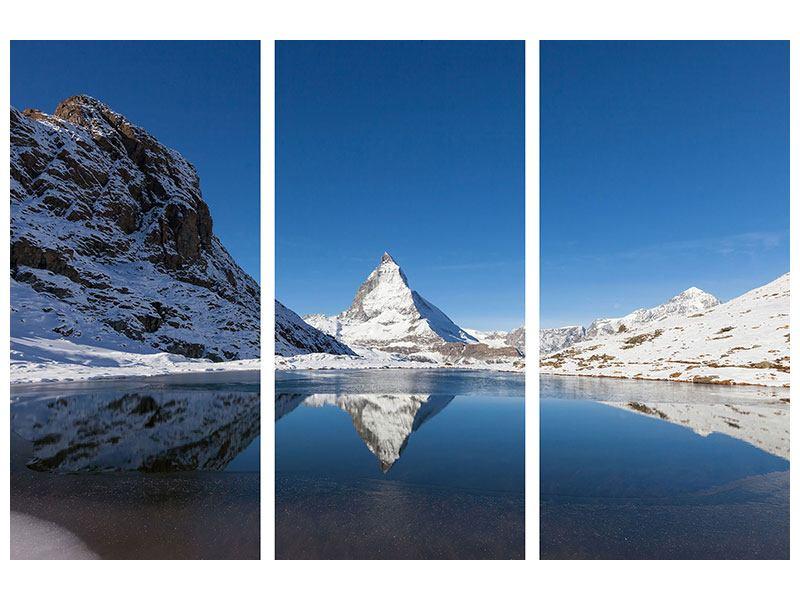 Hartschaumbild 3-teilig Der Riffelsee am Matterhorn