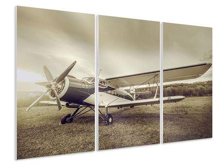 Hartschaumbild 3-teilig Nostalgisches Flugzeug im Retrostyle