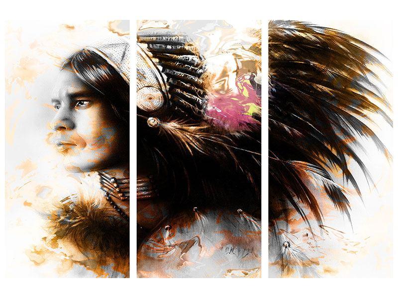 Hartschaumbild 3-teilig Kunstvolles Indianer-Portrait