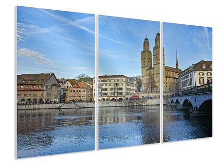 Hartschaumbild 3-teilig Die Altstadt von Zürich