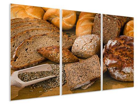 Hartschaumbild 3-teilig Brotarten