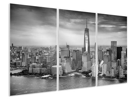 Hartschaumbild 3-teilig Skyline Schwarzweissfotografie New York