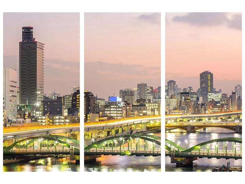 Hartschaumbild 3-teilig Skyline Das Lichtermeer von Tokio
