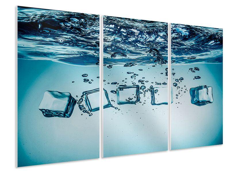 Hartschaumbild 3-teilig Eiswürfel-Quadro